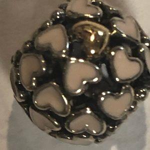 Pandora pink enamel bead w/gold heart